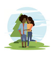 man and woman afro couple hugging vector image vector image