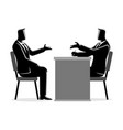 man being interviewed by recruiter vector image vector image
