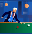 man playing snooker in the dark club vector image vector image