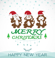 Monkeys merry christmas vector image vector image