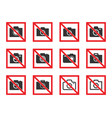 no photography icon set no photo sign vector image vector image