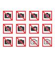 no photography icon set photo sign vector image vector image