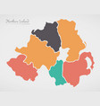 northern ireland map with states and modern round vector image vector image