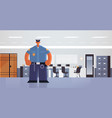 officer standing pose policeman in uniform vector image vector image