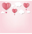 paper hearts with cloud pink background vector image vector image