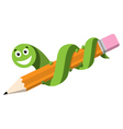 Pencil and Bookworm vector image vector image