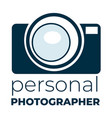 personal photographer camera logotype vector image vector image