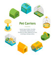 pet carriers 3d banner card circle isometric view vector image vector image