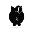 piggy bank black vector image vector image