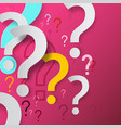 Question marks on pink background mystery and faq
