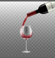 red wine flowing from bottle into glass realistic vector image