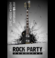 rock poster design template with guitar vector image vector image