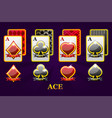 set four aces playing cards suits for poker and vector image vector image