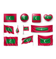 set maldives flags banners banners symbols vector image