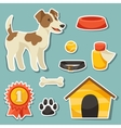 set sticker icons and objects with cute dog vector image vector image