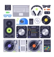 set various stylized dj music equipment vector image