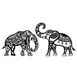 silhouette funny elephants for your design vector image