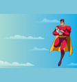 super dad with baby in sky vector image vector image