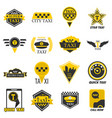 taxi web icons set yellow checkered flag star vector image vector image