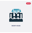 two color snowy house icon from meteorology vector image