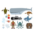 Underwater world set Keith and submarine shark and vector image