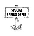 wooden sign board drawing with special spring vector image vector image