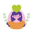 world mental health day cartoon young woman vector image vector image
