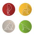 yoga poses flat linear long shadow icons set vector image