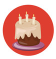 birthday cake sweet cream pie with candles vector image
