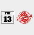 13th friday calendar page icon and grunge vector image vector image