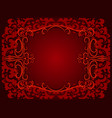 abstract red background with floral frame vector image vector image