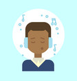 african american male listening music emotion vector image