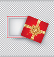 an open gift box with a gold bow isolated on a vector image vector image