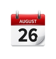 August 26 flat daily calendar icon Date vector image vector image