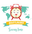banner for daylight saving time with alarm clock vector image