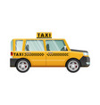 big yellow taxicab checker on roof of automobile vector image vector image