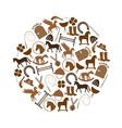brown simple horse theme icons set in circle eps10 vector image