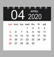 business calendar 2020 april notebook isolated vector image