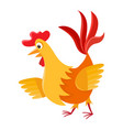 cartoon cock isolated on white cartoon character vector image vector image