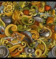 Cartoon hand-drawn picnic doodles seamless pattern