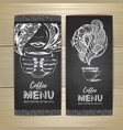chalk drawing coffee menu design vector image vector image