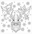 Christmas deer head doodle vector image vector image