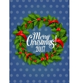 Christmas holly wreath with red berry holiday card vector image vector image