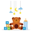 collection of toys on a white background vector image vector image