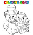 coloring book with wedding bears vector image vector image
