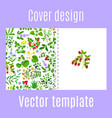 cover design with herbs berries pattern vector image vector image