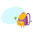 cute and funny smiling school bag backpack vector image vector image