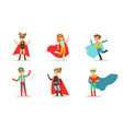 cute boys and girls in various colorful superhero vector image vector image