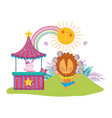 cute lion circus in kiosk vector image vector image