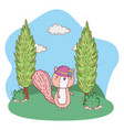 cute little chipmunk with female hat in the field vector image